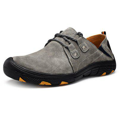 Buy GRAY 38 Men Outdoor Lace Up Anti-slip Hiking Shoes for $27.78 in GearBest store