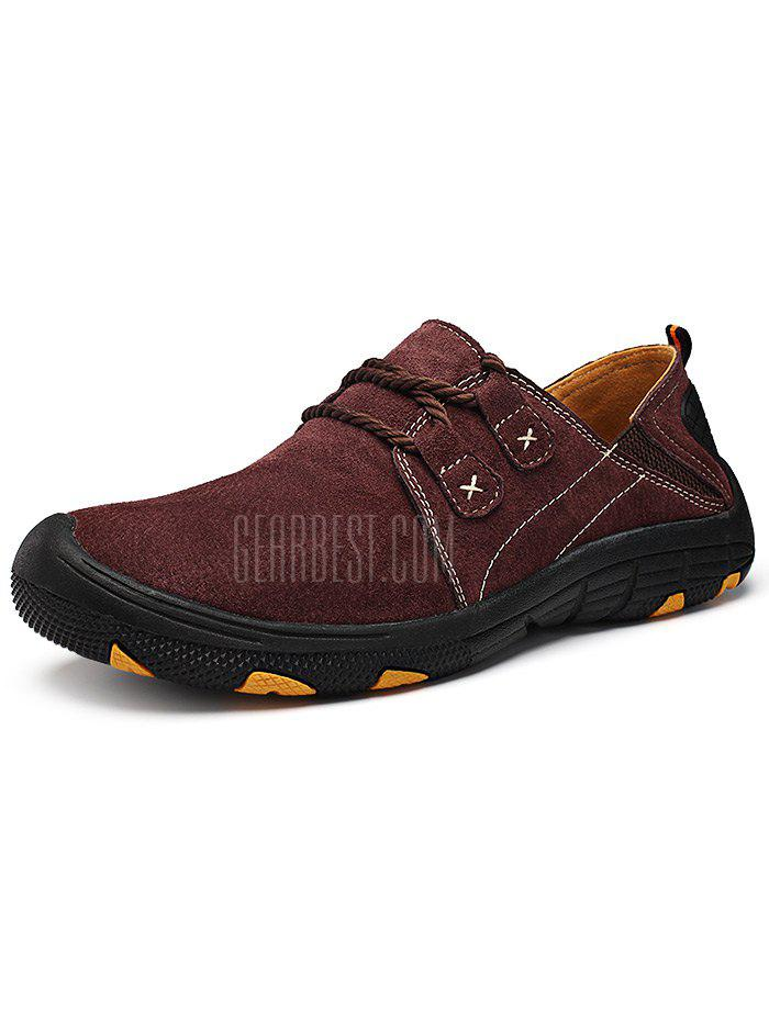WINE RED 42 Men Outdoor Lace Up Anti-slip Hiking Shoes