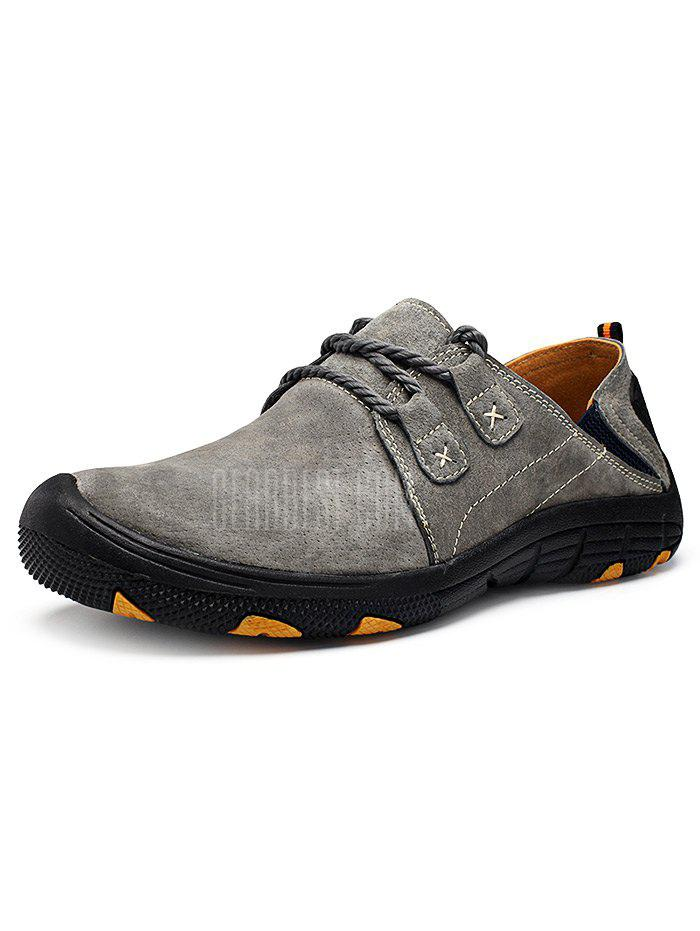 GRAY 39 Men Outdoor Lace Up Anti-slip Hiking Shoes
