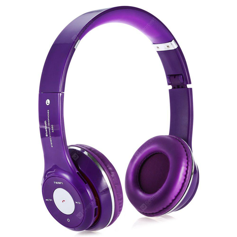 S460 Extensible Bluetooth Hands Free Stereo Headset FM Music Purple Headphones with Mic 3.5mm Jack TF Card Slot