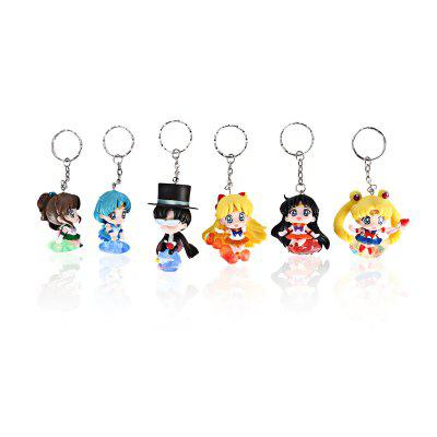 Alloy + PVC Keyring Phone Wallet Decoration - 6pcs / set