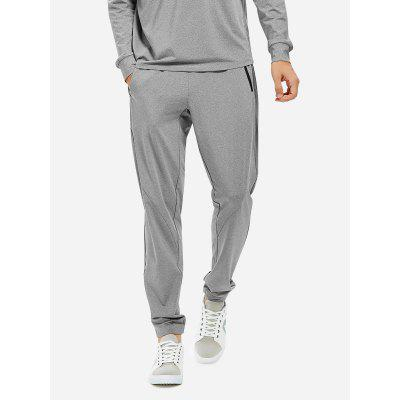 Buy HEATHER GRAY Men Joggers Sweatpants with Zip Pocket for $26.97 in GearBest store