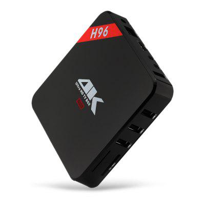 H96 TV BoxTV Box<br>H96 TV Box<br><br>Audio format: MP3, OGG, RM, RM, TrueHD, MP3, TrueHD, WAV, WAV, WMA, WMA, OGG, FLAC, M4A, APE, APE, AAC, M4A, AAC, FLAC<br>Bluetooth: Unsupport, Unsupport<br>Core: Quad Core, Quad Core<br>CPU: ARM Cortex-A7, ARM Cortex-A7<br>Decoder Format: RealVideo8/9/10, RealVideo8/9/10, HD MPEG4, HD MPEG4, H.265, H.263, H.263, H.264, H.264, H.265<br>DVD Support: No, No<br>External Subtitle Supported: No, No<br>GPU: Mali-400, Mali-400<br>HDMI Function: HDCP, HDCP<br>HDMI Version: 2.0, 2.0<br>Max. Extended Capacity: 32G, 32G<br>Model: H96, H96<br>Other Functions: PAL, PAL, Miracast, 3D Video, 3D Games, 3D Games, Airplay, Airplay, DLNA, DLNA, Miracast, 3D Video<br>Package Contents: 1 x H96 TV Box, 1 x Remote Control, 1 x HDMI Cable, 1 x Power Adapter, 1 x English User Manual, 1 x H96 TV Box, 1 x Remote Control, 1 x HDMI Cable, 1 x Power Adapter, 1 x English User Manual<br>Package size (L x W x H): 20.00 x 15.10 x 5.00 cm / 7.87 x 5.94 x 1.97 inches, 20.00 x 15.10 x 5.00 cm / 7.87 x 5.94 x 1.97 inches<br>Package weight: 0.4800 kg, 0.4800 kg<br>Photo Format: JPG, BMP, JPEG, JPEG, PNG, BMP, JPG, PNG<br>Power Consumption.: 10W, 10W<br>Power Supply: Charge Adapter, Charge Adapter<br>Power Type: Digital Power Supply, Digital Power Supply<br>Processor: RK3229, RK3229<br>Product size (L x W x H): 12.30 x 12.30 x 2.30 cm / 4.84 x 4.84 x 0.91 inches, 12.30 x 12.30 x 2.30 cm / 4.84 x 4.84 x 0.91 inches<br>Product weight: 0.2300 kg, 0.2300 kg<br>RAM: 1G RAM, 1G RAM<br>RAM Type: DDR3, DDR3<br>RJ45 Port Speed: 100M, 100M<br>ROM: 8G ROM, 8G ROM<br>Support 5.1 Surround Sound Output: Yes, Yes<br>System: Android 6.0, Android 6.0<br>TV Box Features: 5.1 Surround Sound Output, 5.1 Surround Sound Output<br>Type: TV Box, TV Box<br>Video format: RMVB, RMVB, RM, RV, RV, VOB, VP6, VP6, VP8, VOB, VP8, M4V, FLV, M4V, PMP, MP4, MP4, PMP, RM, FLV<br>WiFi Chip: AP6051, AP6051