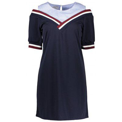 Buy BLUE False Two Piece Striped Mini Dress for $17.36 in GearBest store