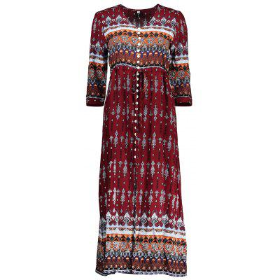 Single-breasted Ethnic Print Maxi Kleid
