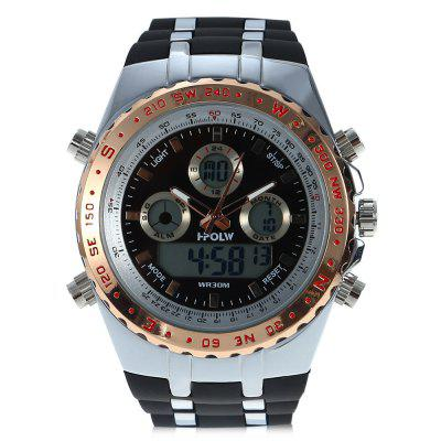 HPOLW 584 Men Dual Movt WatchMens Watches<br>HPOLW 584 Men Dual Movt Watch<br><br>Band material: Silicone<br>Band size: 25 x 2.6cm / 9.84 x 1.02 inches<br>Brand: HPOLW<br>Case material: Alloy<br>Clasp type: Pin buckle<br>Dial size: 5 x 5 x 1.3cm / 1.97 x 1.97 x 0.51 inches<br>Display type: Analog-Digital<br>Movement type: Double-movtz<br>Package Contents: 1 x Watch, 1 x Box<br>Package size (L x W x H): 28.00 x 8.00 x 3.50 cm / 11.02 x 3.15 x 1.38 inches<br>Package weight: 0.1970 kg<br>Product size (L x W x H): 25.00 x 5.00 x 1.30 cm / 9.84 x 1.97 x 0.51 inches<br>Product weight: 0.1370 kg<br>Shape of the dial: Round<br>Special features: Stopwatch, Luminous, Light, Date, Alarm Clock, Day<br>Watch mirror: Resin glass<br>Watch style: Trends in outdoor sports, Fashion<br>Watches categories: Male table<br>Water resistance: 30 meters<br>Wearable length: 19.00 - 24.00cm / 7.48 - 9.45 inches