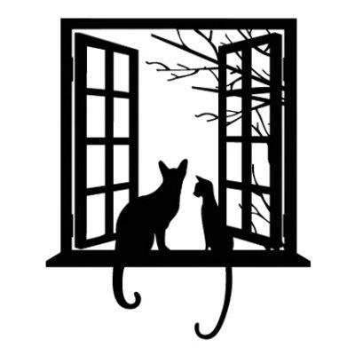 Window Cat Pattern Removable Wallpaper Waterproof PVC Wall Sticker