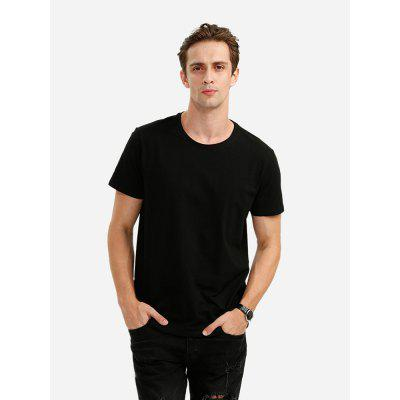 ZANSTYLE Men Crew Neck Cotton Black T Shirt