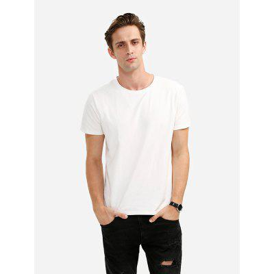 ZANSTYLE Men Crew Neck Cotton White T Shirt