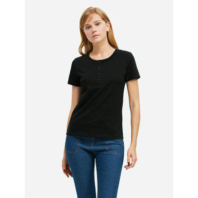 ZANSTYLE Women Crew Neck Black Tee