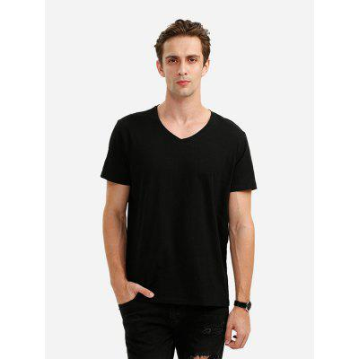 ZANSTYLE V Neck Black T Shirt for Men