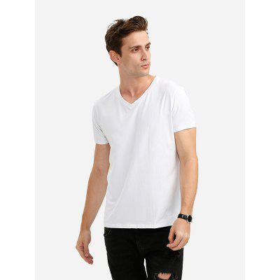 ZANSTYLE V Neck T Shirt White for Men