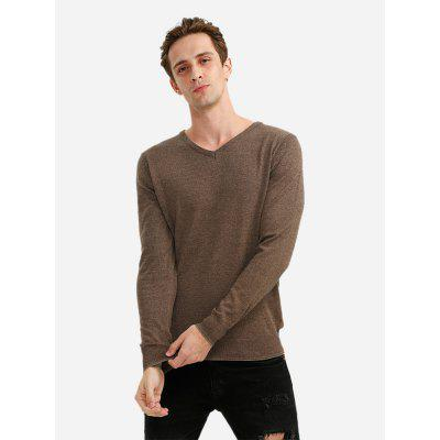 ZANSTYLE Men V Neck Coffee Knitwear