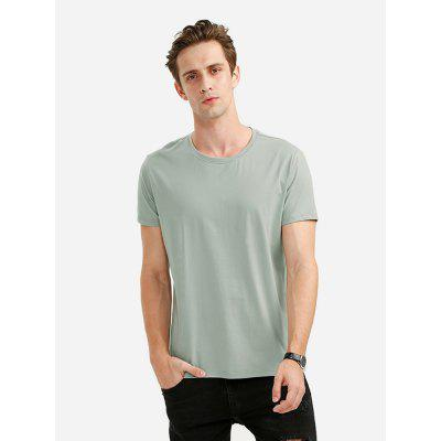 ZANSTYLE Men Crew Neck Turquoise T Shirt