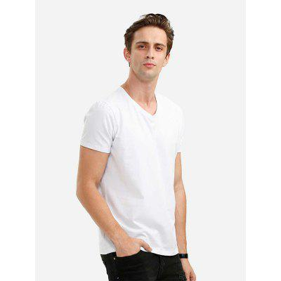 Men V Neck White T Shirt