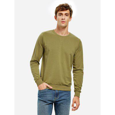 ZANSTYLE Men Crew Neck Moss Green Sweatshirt