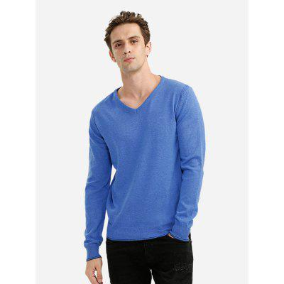 Men V Neck Blue Knitwear