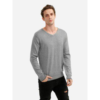 Men V Neck Gray Knitwear