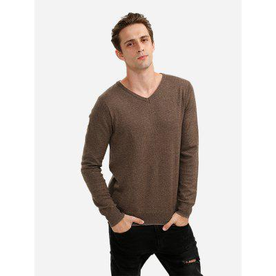 Men V Neck Coffee Knitwear