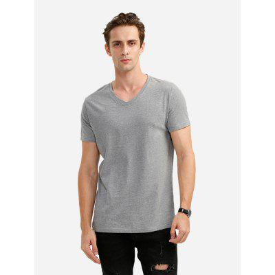 ZANSTYLE Men V Neck Gray T Shirt