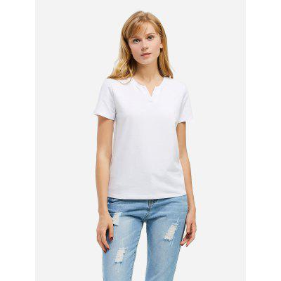 Women Split Neck White Tee