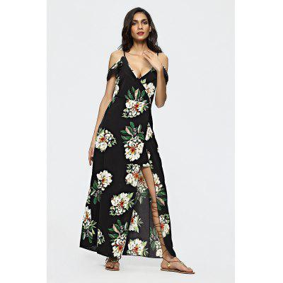 Floral Pattern Patchwork Backless Slit Maxi Dress