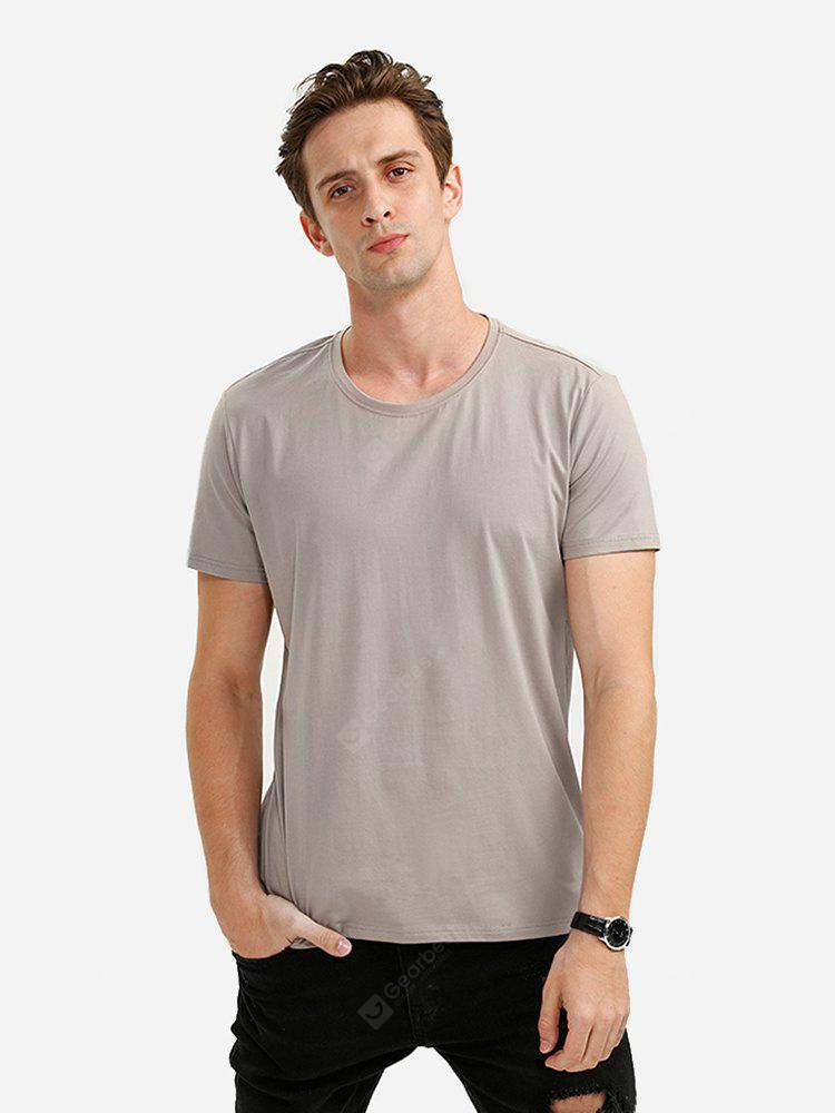 Men Crew Neck Light Coffee T Shirt