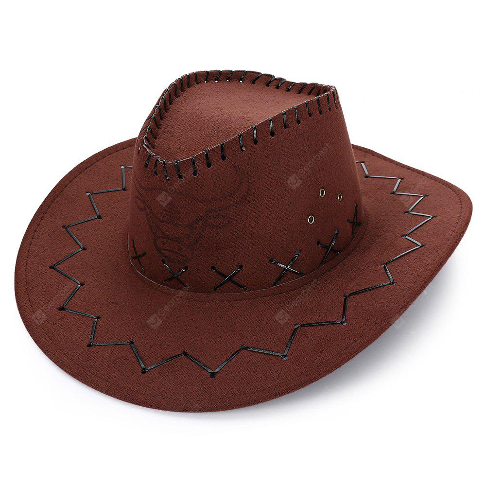 LIGHT COFFEE Unisex Breathable Hole Cowboy Hat with Adjustable Drawcord