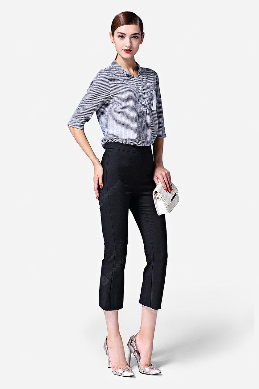 BLACK Close-fitting Female Boot Cut Pants