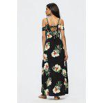 Buy Floral Pattern Patchwork Backless Slit Maxi Dress BLACK