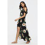 Floral Pattern Patchwork Backless Slit Maxi Dress - PRETO