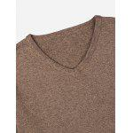 ZANSTYLE Men V Neck Coffee Knitwear - COFFEE