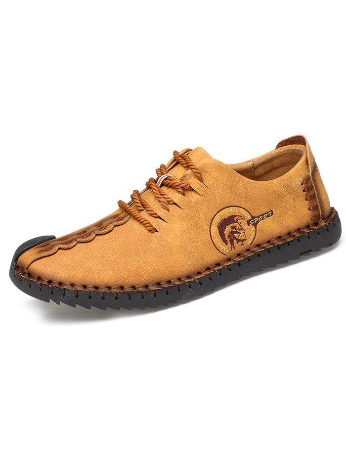 Microfiber Leather Casual Men Shoes - YELLOW 44