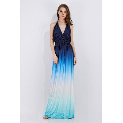 Sexy Gradient Backless Floor-length Dress Evening Gown
