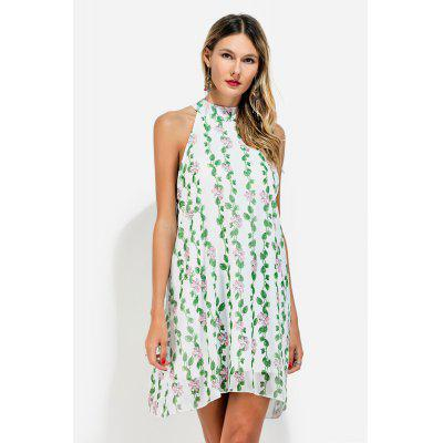 Sleeveless Stand Collar Floral Pattern Chiffon A-line Dress