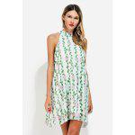 Sleeveless Stand Collar Floral Pattern Chiffon A-line Dress - LIGHT GREEN