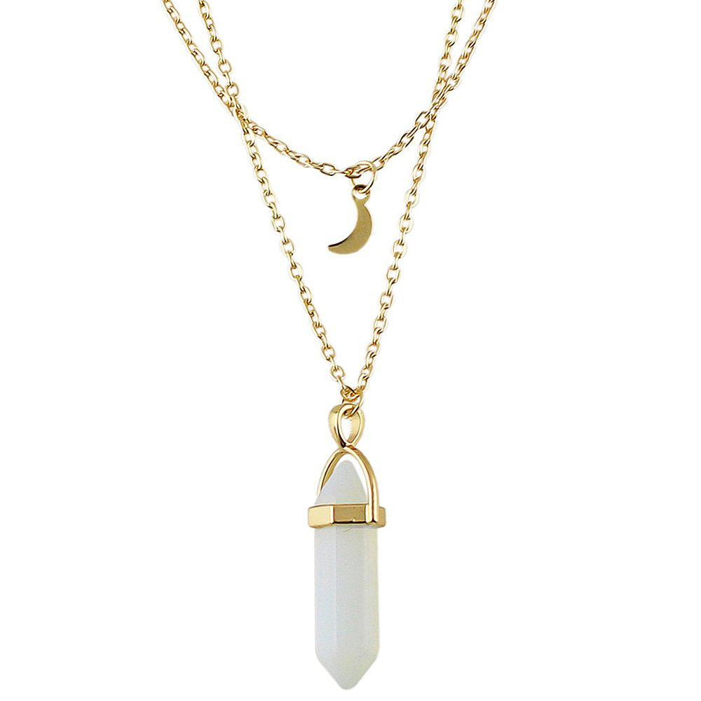 WHITE Double-strand Jewel Pendant Necklace