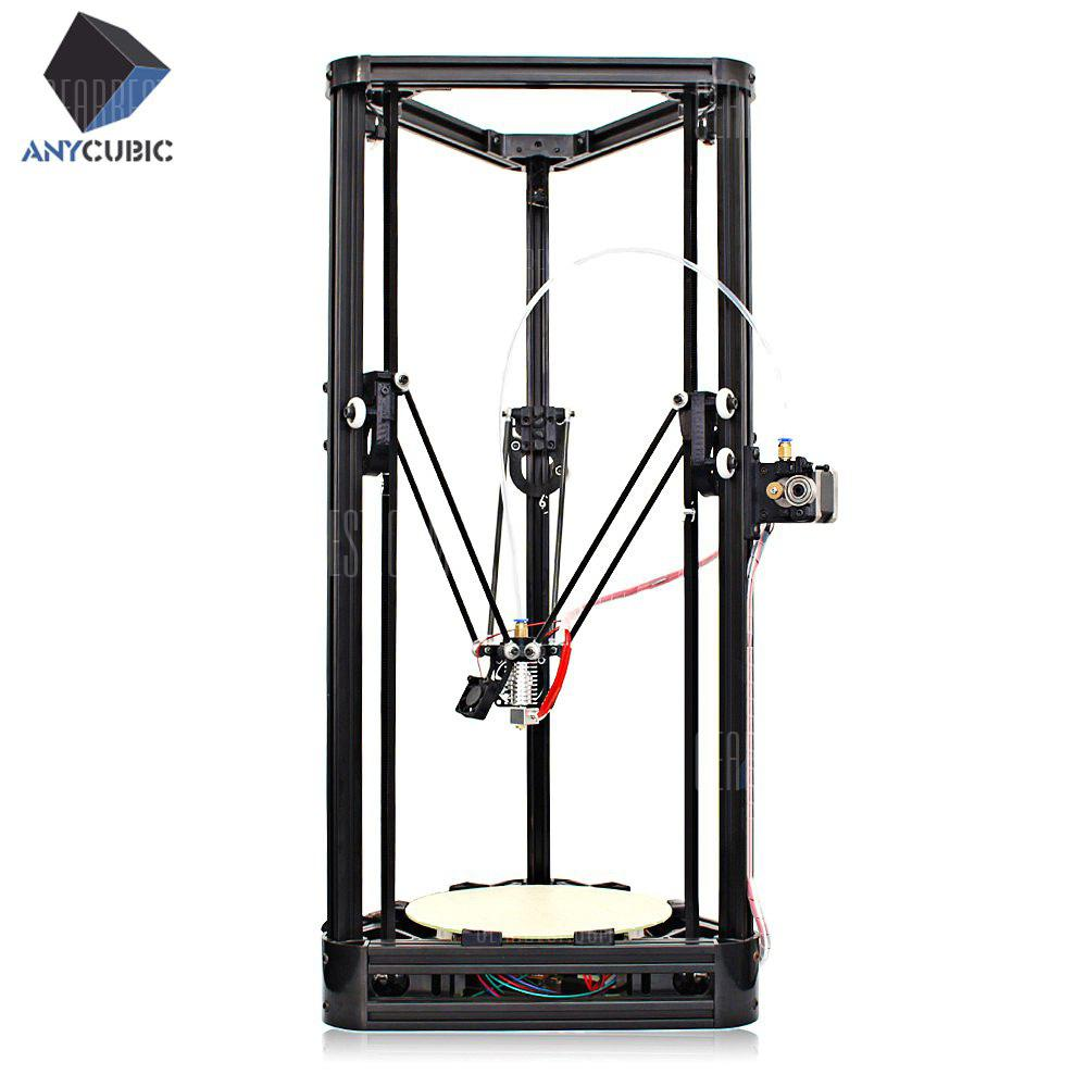 Anycubic Kossel Upgraded Pulley Version Unfinished 3D Printer - BLACK - EU PLUG WITH PRINTER MATERIAL + BRACKET