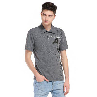 Buy DEEP GRAY WHATLEES Letter Print Cotton T Shirts for $16.15 in GearBest store