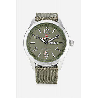 NAVIFORCE NF9101M Men Quartz WatchMens Watches<br>NAVIFORCE NF9101M Men Quartz Watch<br><br>Band material: Canvas + Leather<br>Band size: 25.5 x 2.20 cm / 10.83 x 0.87 inches<br>Brand: Naviforce<br>Case material: Alloy<br>Clasp type: Pin buckle<br>Dial size: 4.8 x 4.8 x 1cm / 1.89 x 1.89 x 0.39 inches<br>Display type: Analog<br>Movement type: Quartz watch<br>Package Contents: 1 x NAVIFORCE Men Quartz Watch<br>Package size (L x W x H): 26.50 x 5.80 x 2.00 cm / 10.43 x 2.28 x 0.79 inches<br>Package weight: 0.0990 kg<br>Product size (L x W x H): 25.50 x 4.80 x 1.00 cm / 10.04 x 1.89 x 0.39 inches<br>Product weight: 0.0680 kg<br>Shape of the dial: Round<br>Special features: Date, Luminous, Day<br>Watch color: Black, Black and Grey, Green, Light Khaki, Brown<br>Watch mirror: Mineral glass<br>Watch style: Business<br>Watches categories: Male table<br>Water resistance: 30 meters<br>Wearable length: 18.00 - 23.00cm / 7.09 - 9.06 inches