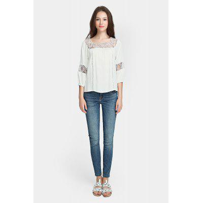 Bohemian Crochet Lace Neckline Blouse Pure Summer Top