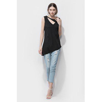 Hollow-out Asymmetric Sleeveless T-shirt Tank Top for Women