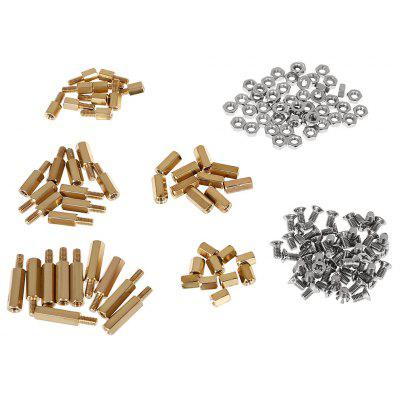 150PCS M3 Threaded Brass Spacer Standoffs / Screw / Nut