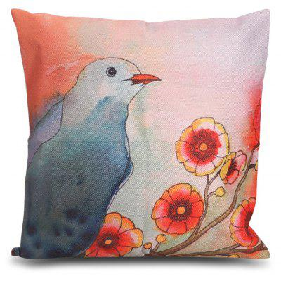 Bird Flower Printed Square Throw Pillow Case