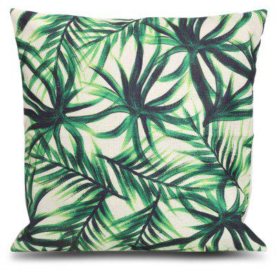 Bamboo Leaf Printed Square Throw Pillow Case