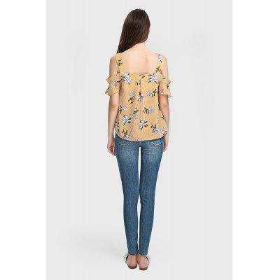 Floral Print Striped Blouse with Wide Shoulder StrapBlouses<br>Floral Print Striped Blouse with Wide Shoulder Strap<br><br>Collar: Cold Shoulder<br>Color: Yellow<br>Embellishment: Open Back<br>Material: 100% Polyester<br>Package Content: 1 x Blouse<br>Package size (L x W x H): 36.00 x 28.00 x 1.00 cm / 14.17 x 11.02 x 0.39 inches<br>Package weight: 0.2000 kg<br>Pattern Type: Floral, Stripe<br>Product weight: 0.1600 kg<br>Season: Summer<br>Shirt Length: Regular<br>Sleeve Length: Short Sleeves<br>Sleeve Type: Flare Sleeve<br>Style: Fashion