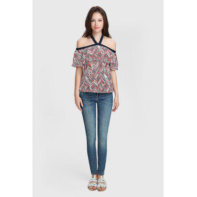Mulheres Off The Shoulder Halter Blouse