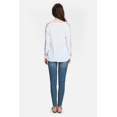 Women Hollow-out Sleeve White Blouse with V-neckBlouses<br>Women Hollow-out Sleeve White Blouse with V-neck<br><br>Collar: V-Neck<br>Color: White<br>Embellishment: Hollow Out<br>Material: Rayon<br>Package Content: 1 x Blouse<br>Package size (L x W x H): 36.00 x 29.00 x 1.00 cm / 14.17 x 11.42 x 0.39 inches<br>Package weight: 0.1900 kg<br>Pattern Type: Solid<br>Product weight: 0.1600 kg<br>Season: Fall, Summer, Spring<br>Shirt Length: Regular<br>Sleeve Length: Long Sleeves<br>Style: Casual