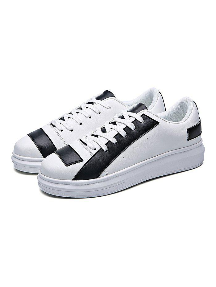 Fashion PU Color Block Lace-up Casual Shoes Men 41 WHITE