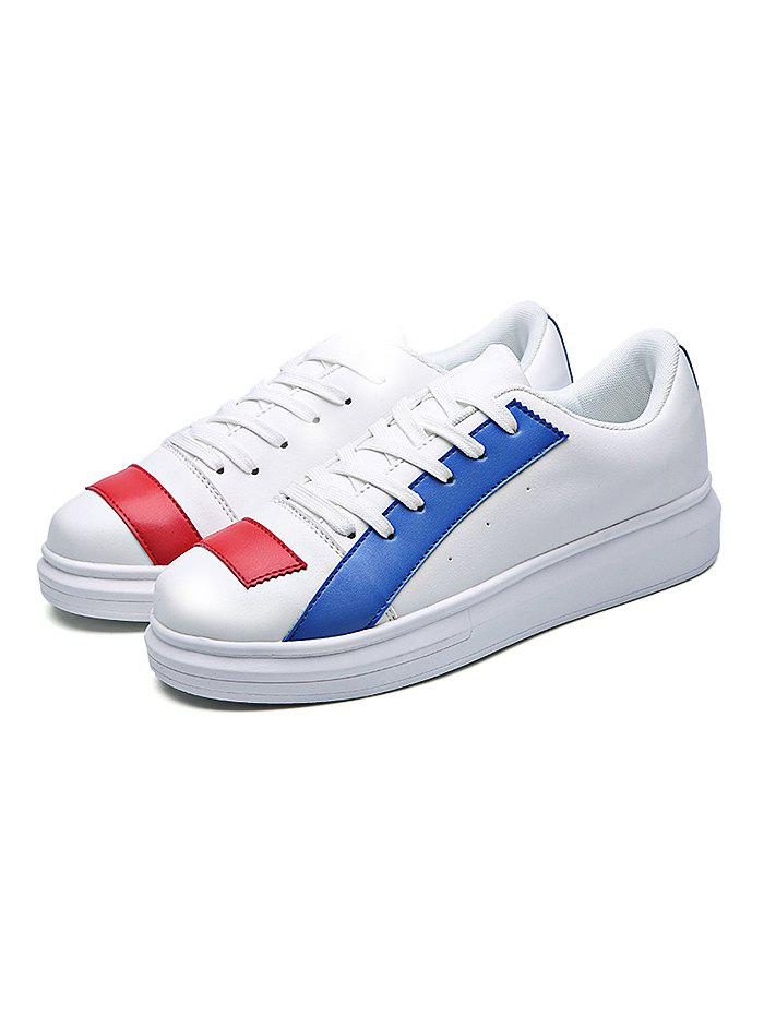 Fashion PU Color Block Lace-up Casual Shoes Men 44 BLUE